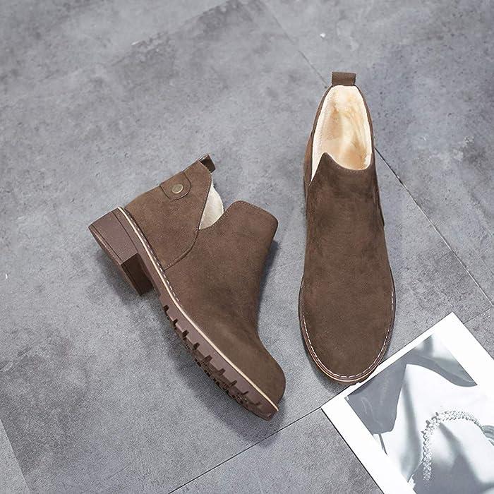 Botas de Felpa Vintage de Mujer, Zapatos de Punta Redonda de Invierno para Mujer Botines Planos de Gamuza de Cerrojo de Color sólido Boots Absolute
