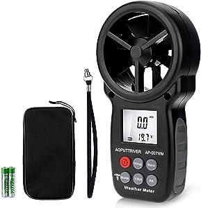 Digital Anemometer Barometer AP-007WM Handheld Anemometer, Wind Speed Meter for Wind Speed/Temperature with Wind Chill & Relative Humidity, Altitude, Barometric Pressure Measure for HVAC CFM Shooting