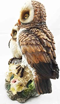 Great Horned Tiger Owl Couple on Branch Bird Sculpture Home Decor Collectibles