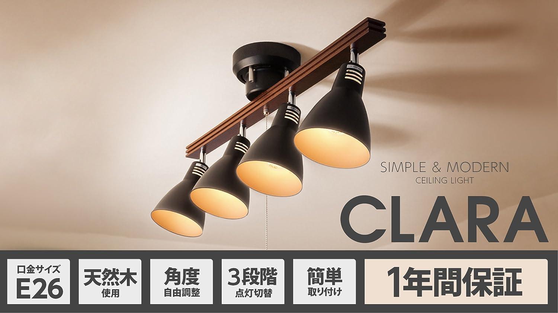 モダンデコ 照明 シーリングライト 8畳対応 LED電球対応 天井照明 スポットライト 【Clara】 (ホワイト)