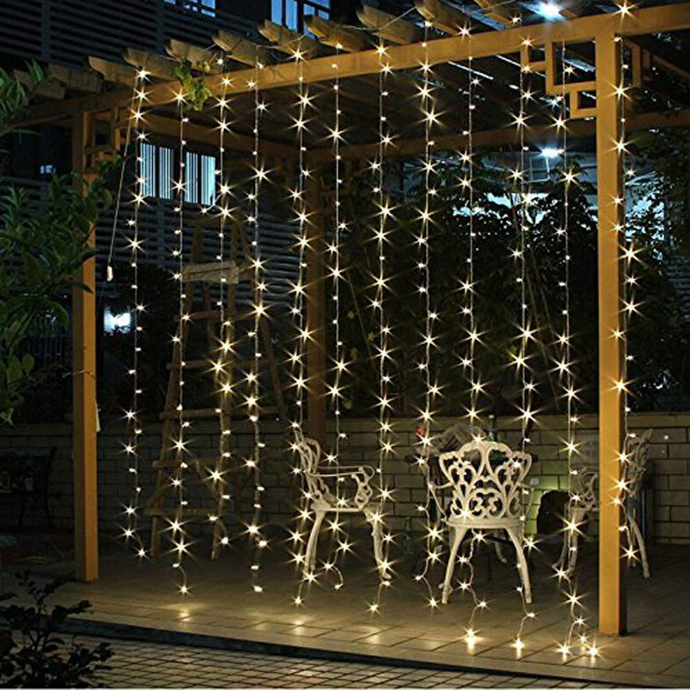 Twinkle Star 300 LED Window Curtain String Light Wedding Party Home Garden Bedroom Outdoor Indoor Wall Decorations, Warm White by Twinkle Star (Image #3)