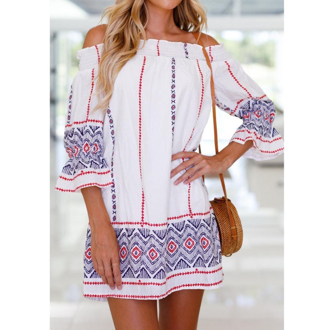 FeiXiang Womens Off Shoulder Three Quarter Geometric Printing Bohemian  Summer Mini Beach Dress (M e382defe8126