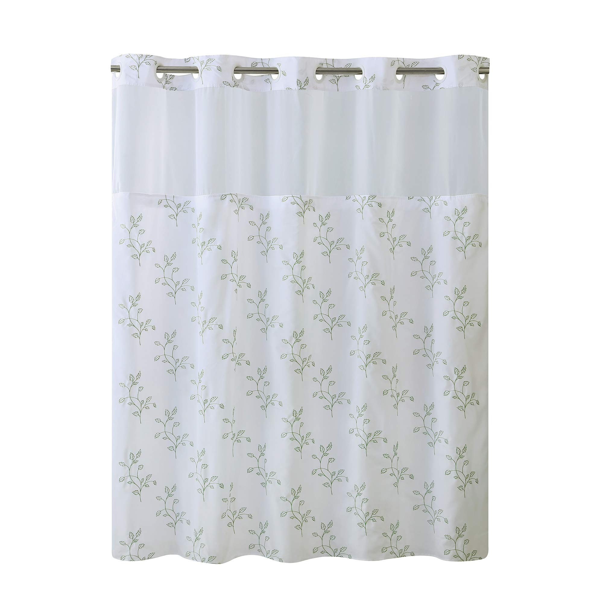 Hookless RBH40MY028 Spring Leaves Shower Curtain with Peva Liner -  Bright White