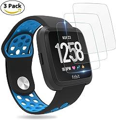 For Fitbit Versa Screen Protector, Penta Stars for Fitbit Versa Tempered Glass Screen Protector for Smartwatch, Waterproof, Scratch Resist, Bubble-free, 9H Hardness, Fingerprint Proof, 3 Packs