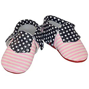 Pink Striped 4th of July American Flag Baby Moccasins (5.4 inches (18-24 Month))