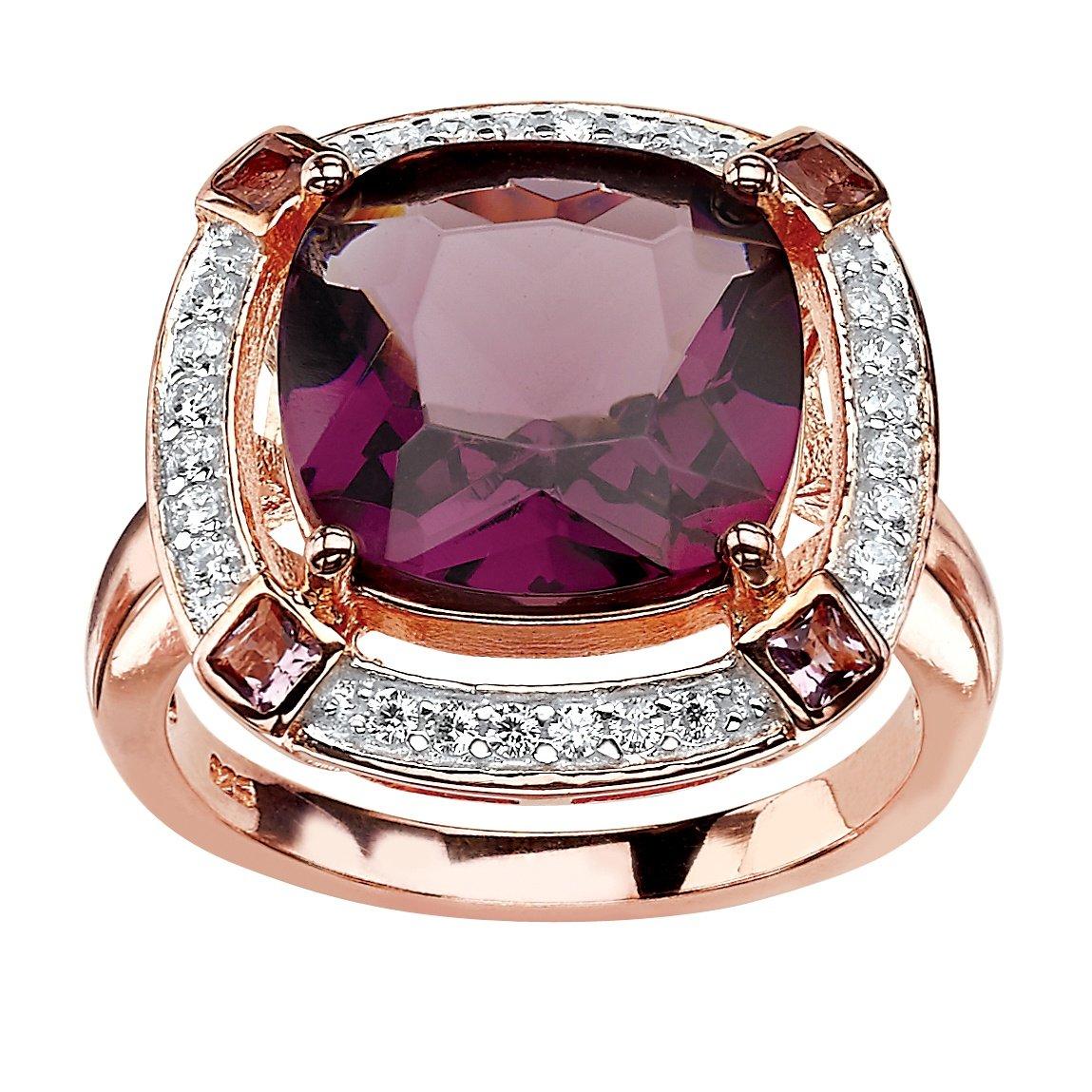 Seta Jewelry Cushion-Cut Simulated Amethyst & CZ Rose Gold-Plated .925 Silver Halo Ring