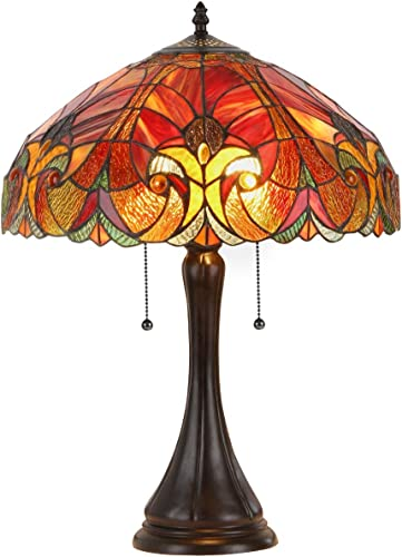 """Amor"" Tiffany-Style Victorian 2 Light Table Lamp 16″ Shade"