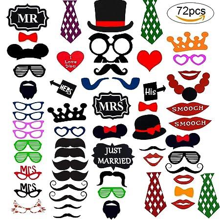 Cotigo-72Pcs Photo Booth Atrezzo Favorecer Incluyendo Bigotes Gafas Labios Sombreros para Boda Bautizos Cumpleaños y Fiesta Especiales …