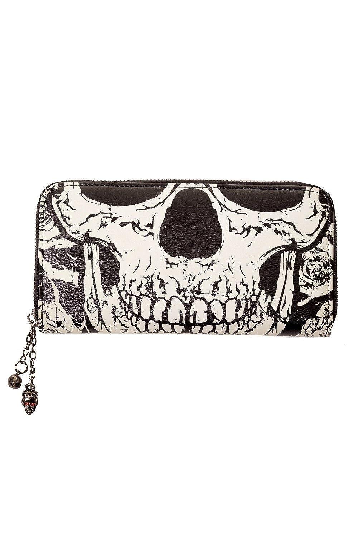 Banned Gothic Death Skull Face Glow in the Dark Zip Around Wallet BN-1424