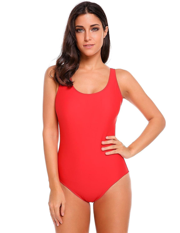 8bf52c915b1 Dozenla Women s Athletic Training Adjustable Strap One Piece Swimsuit  Swimwear Bathing Suit