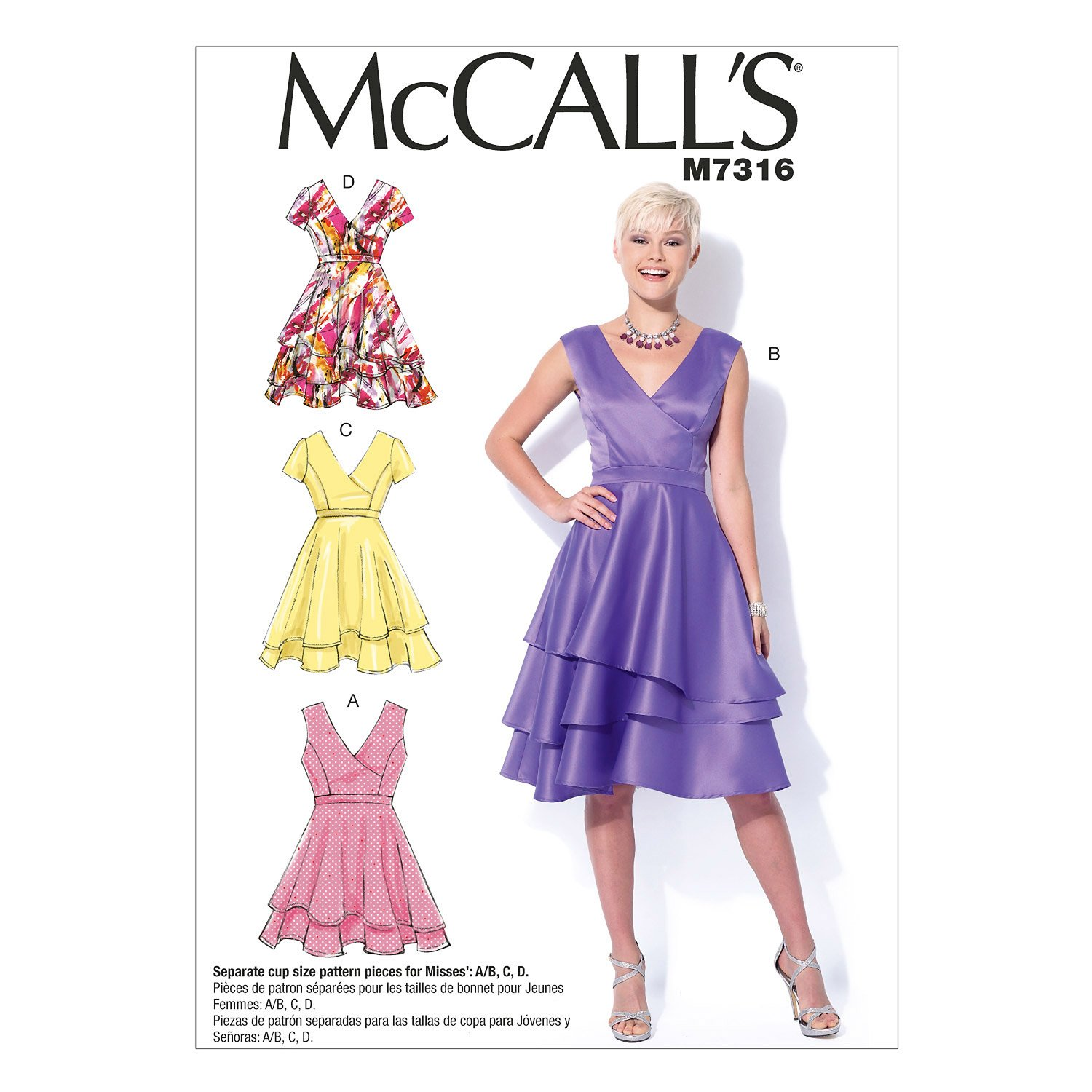 Amazon.com: McCall\'s Patterns M7316 Misses\' Asymmetrical Tiered ...