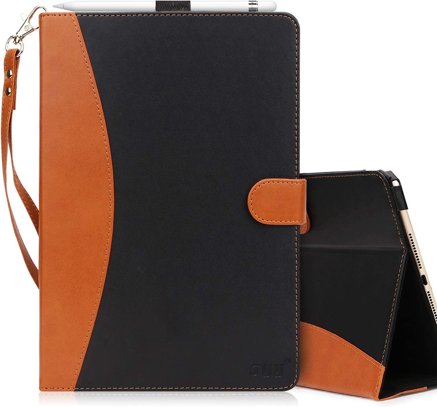FYY [Leather Case] with [Apple Pencil Holder] for Apple iPad Pro 12.9 Both 2017/2015, Flip Folio Stand Protective Case with [Auto Sleep Wake Function], Multiple Stand Angles, Card Slots Black
