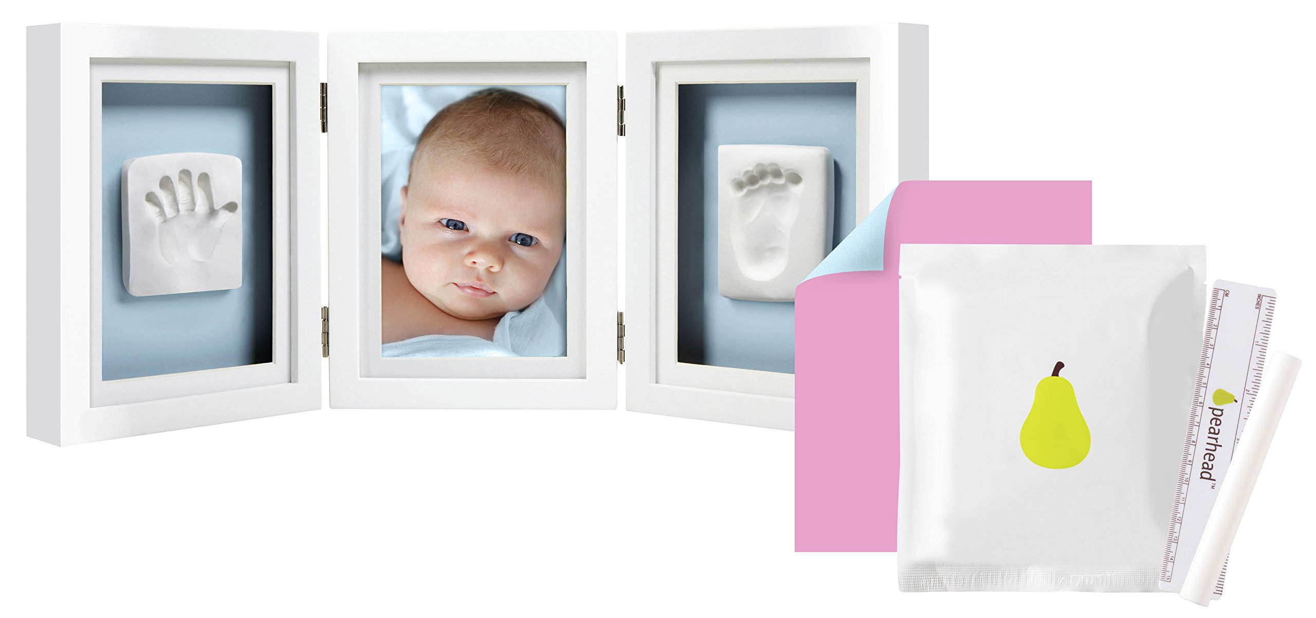Pearhead Newborn Baby Handprint and Footprint Deluxe Photo Frame & Impression Kit, Desk, White