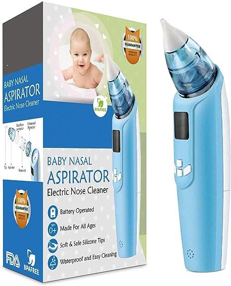 Aspirador nasal para bebés, limpiador de nariz eléctrico Limpiador de nariz higiénico seguro Succionador de mocos con 4 tamaños de puntas de nariz para bebés recién nacidos: Amazon.es: Bebé