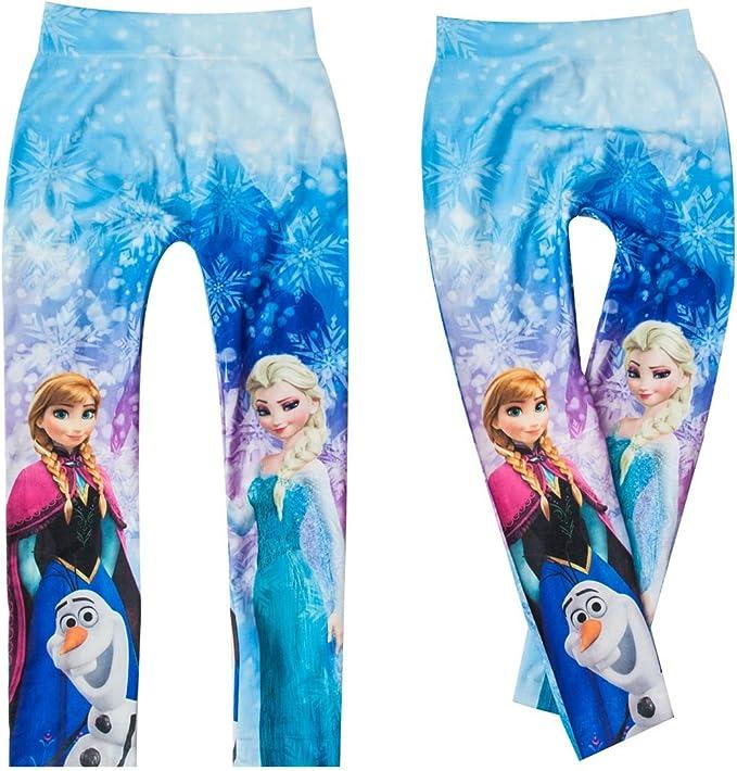 Eiskönigin-Frozen Mädchen Leggings Hose mit Anna und Elsa Motive