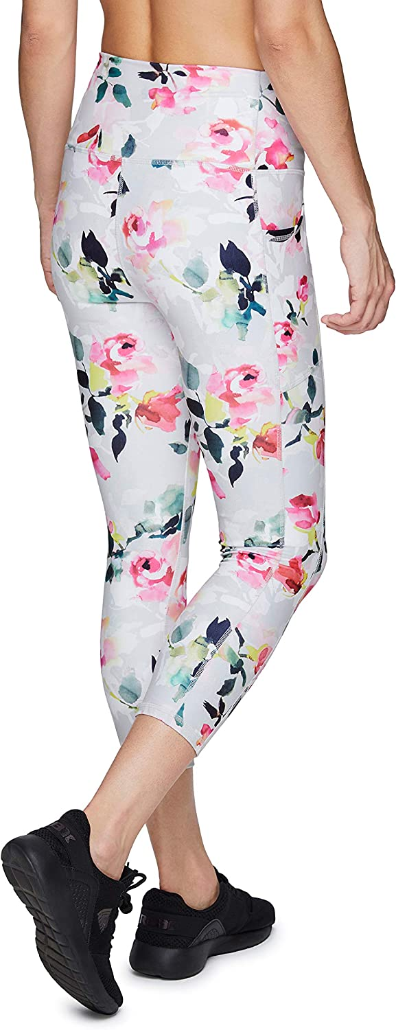 RBX Active Womens Athletic Fashion Peached Ultra Soft High Waist Squat Proof Printed Capri Legging with Pockets