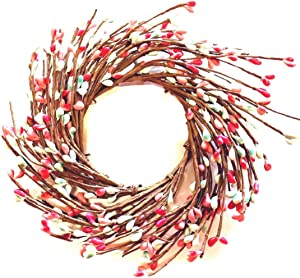 """MerdCraft Candle Ring Country Primitive Floral Décor - Teal, Pink, (Coral) Pips - Perfect Candle Ring for 3"""" Pillars"""