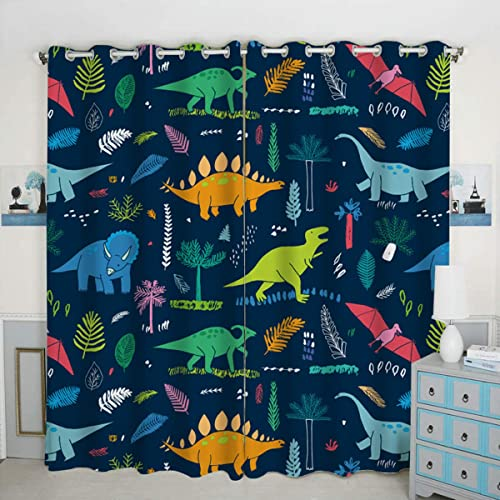 QH Window Curtain Panels Dinosaur Pattern Blackout Curtain Panels Thermal Insulated Light Blocking 42W x 84L inch Set of 2 Panel
