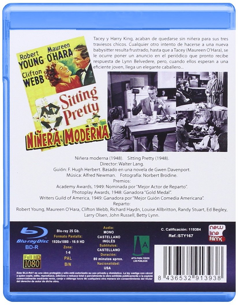 Niñera Moderna BD 1948 Sitting Pretty [Blu-ray]: Amazon.es: Maureen OHara, Clifton Webb, Richard Haydn, Louise Allbritton, Randy Stuart, Ed Begley, ...