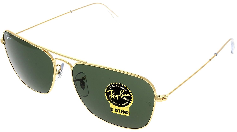 0215505c19ce7 Amazon.com  Ray Ban CARAVAN Sunglasses Aviator Gold Mens RB3136 001 55   Clothing