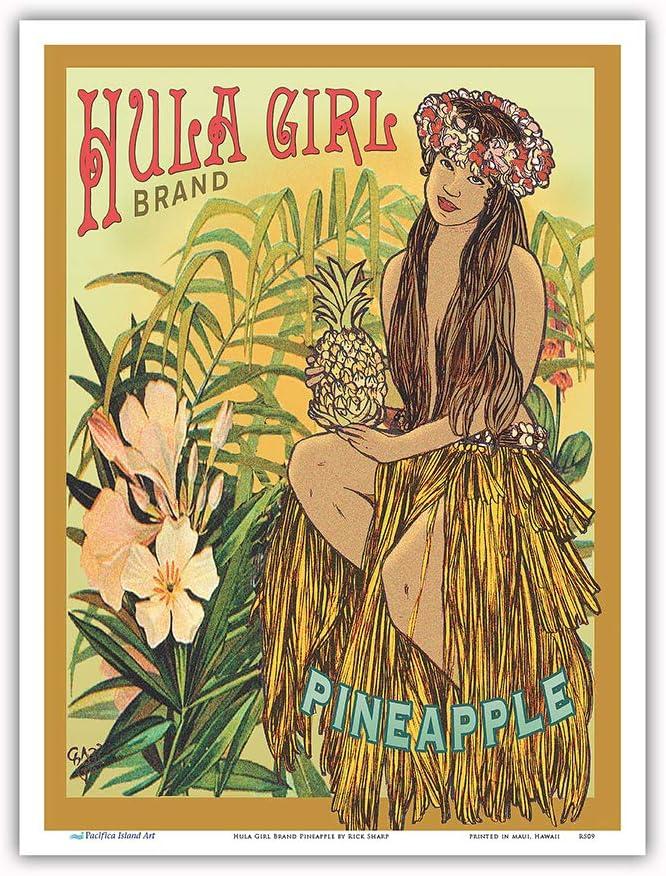 Pacifica Island Art - Hula Girl Brand Pineapple - Hawaii Hula Dancer - Vintage Hawaiian Canned Fruit Label by Rick Sharp - Master Art Print - 9in x 12in