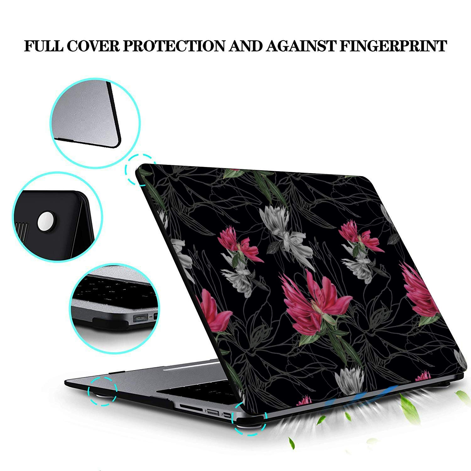 MacBook Pro 2017 Cover Rose Red Retro Romatic Spring Peony Plastic Hard Shell Compatible Mac Air 11 Pro 13 15 MacBook 13 Inch Case Protection for MacBook 2016-2019 Version