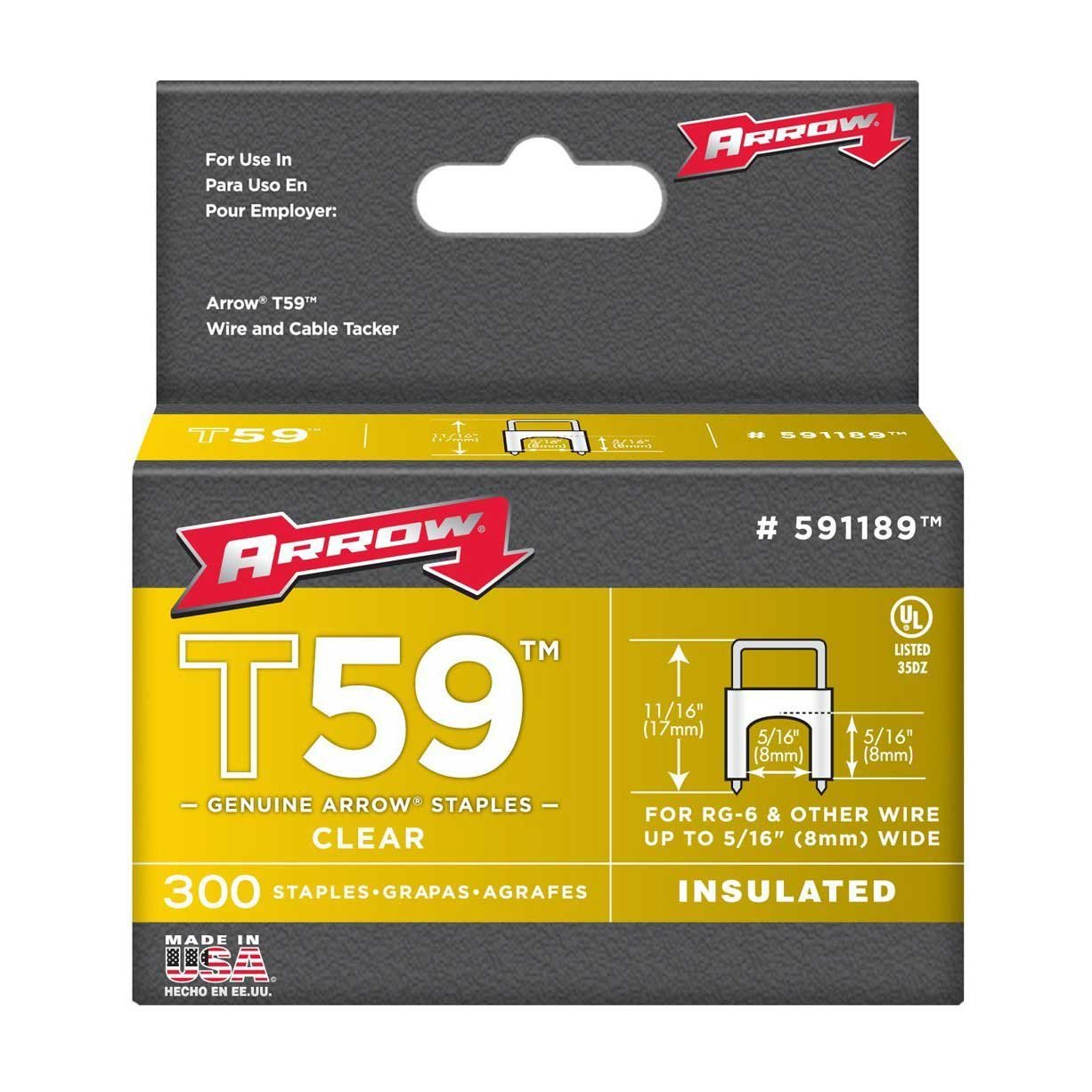 B0002JSZ9M Arrow Fastener 591189 Genuine T59 Insulated Clear 5/16-Inch by 5/16-Inch Staples, 300-Pack 71L1ajXtgdL