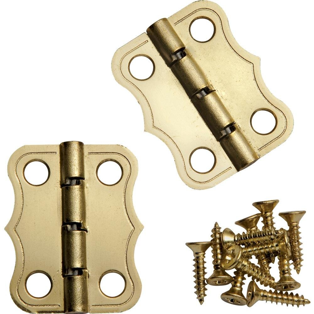Decorative 90° Stop Hinges Brass Pair