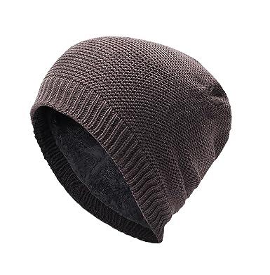 5420c2f922f3 Bonnet Homme Femme Hiver Chaud Intérieur Doux Mixte Extérieur Bonnet  Extensible Doublure Polaire Tricot Ski Sport