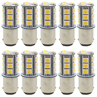 JAVR - Pack of 10 - Warm White 3000K 1142 BA15D LED Bulbs 5050 18-SMD Replacement Lamps for 12V Interior RV Camper Trailer Lighting Boat Yard Light Brake Tail Bulbs: Automotive