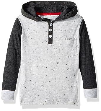 3be01d89 DKNY Boys' Toddler Long Sleeve Color Block Flecked Hooded Pocket Henley  Shirt, White Heather