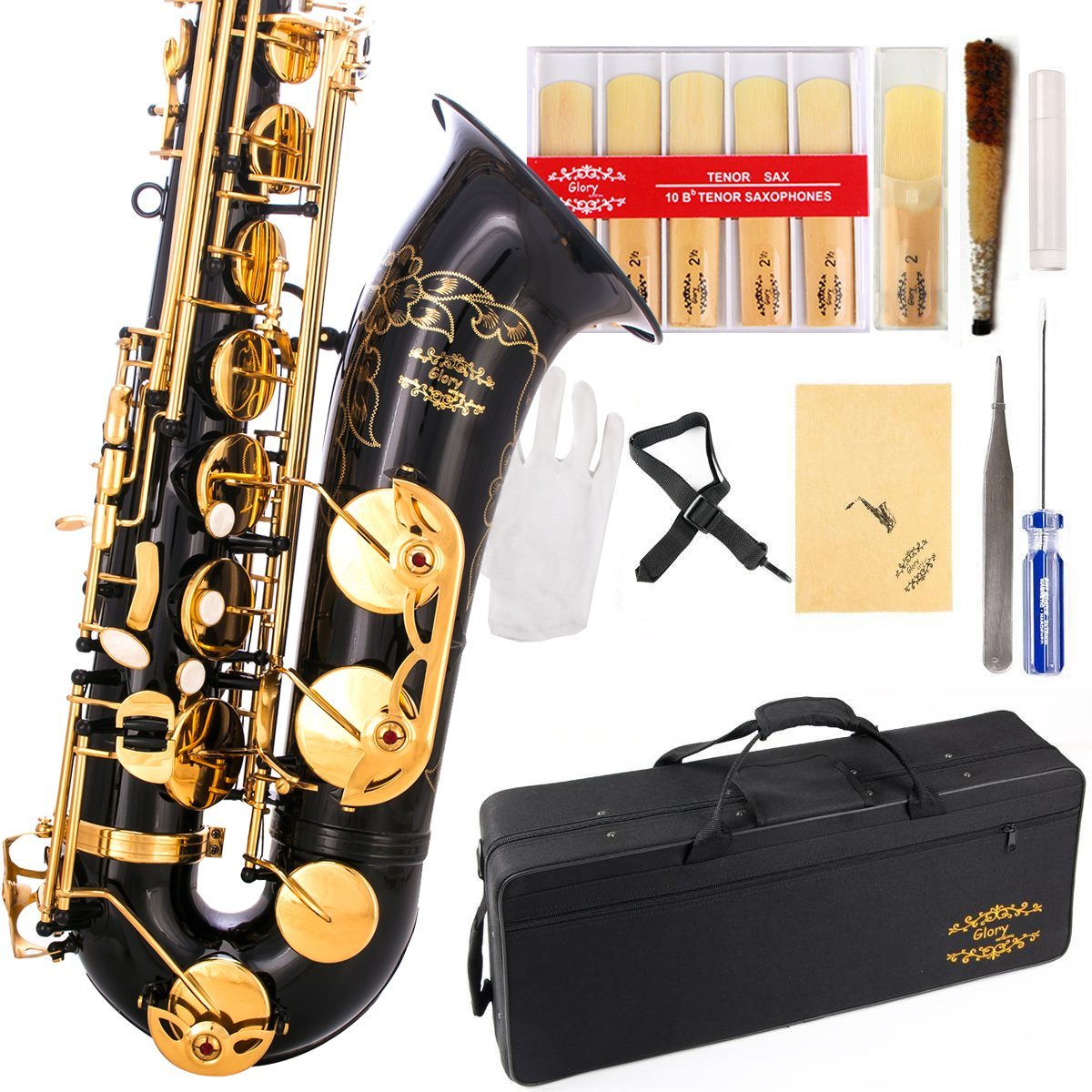 Glory Black/Gold B Flat Tenor Saxophone with Case,10pc Reeds,Mouth Piece,Screw Driver,Nipper. A pair of gloves, Soft Cleaning Cloth. by GLORY
