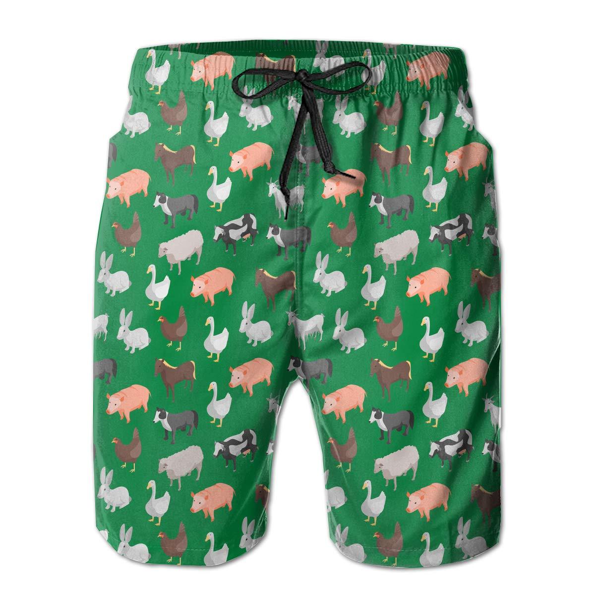 Farm Animals Mens Beach Shorts Casual Athletic Shorts with 3 Pockets