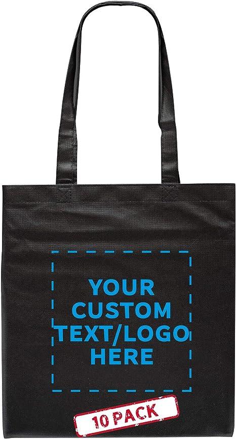Shopping Bag Black Printed Tote bag Tote Bag text BLACK on the white bag 15 x 15