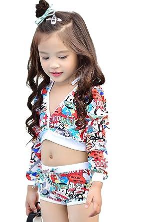 955545b1cfd08 Baby Girls Kids 3 Piece Flower Print Bikini Set With Rash Guard Swim Jacket