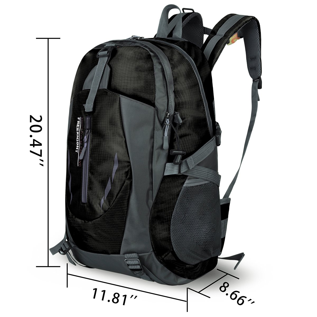 Water Resistant Sports Backpack Lightweight School Bag for Travel Hiking Climbing Camping Mountainneering Daypack Unisex Size 11.8\'\'x 8.6\'\'x 20.4\'\' (Black)