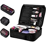 Travel Makeup Bag, ETEREAUTY Portable Cosmetic Case Train Bag with 3 Individual Cases, 2019 New Premium Makeup Organizer Bag for Makeup Brushes Toiletry Jewelry Digital Accessories(Black)