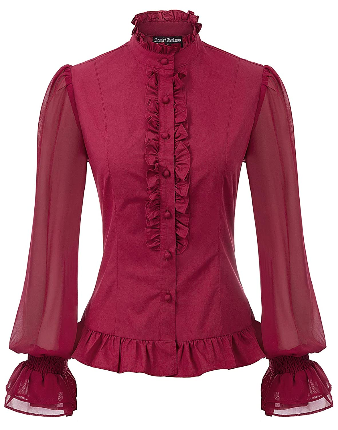 Victorian Blouses, Tops, Shirts, Sweaters Womens Victorian Blouse Gothic Shirts Ruffle Stand Collor Sheer Sleeve Tops $26.99 AT vintagedancer.com