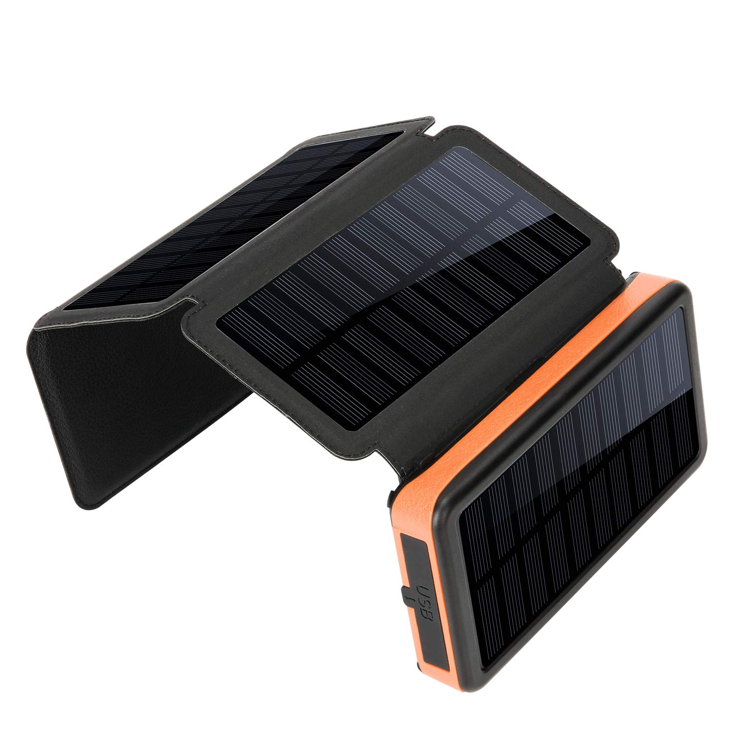 X-DNENG Solar Charger 4 Solar Panels Detachable Emergency Power Bank 20000mAh with USB C Higher Efficiency Outdoor Carabiner Waterproof for Cycling Hiking Tavel Outdoor Activities