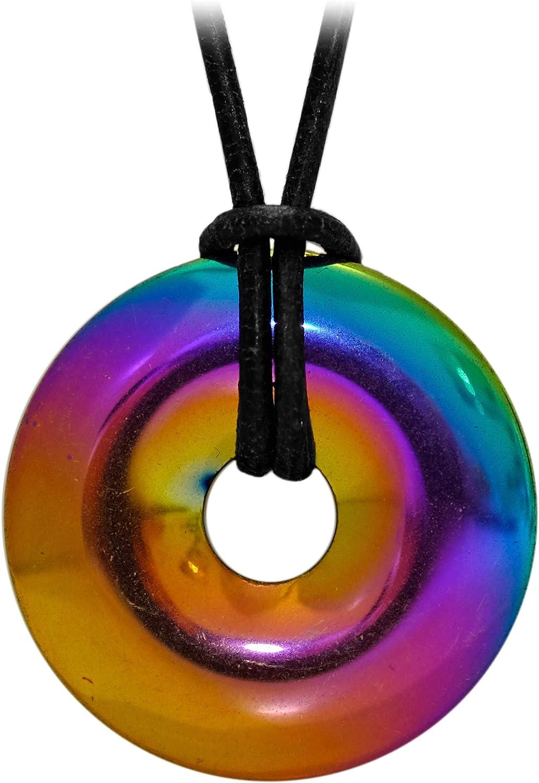 Collar de cuerpo para mujer y hombre con donut de piedra preciosa amatista arco iris (efecto empañado)