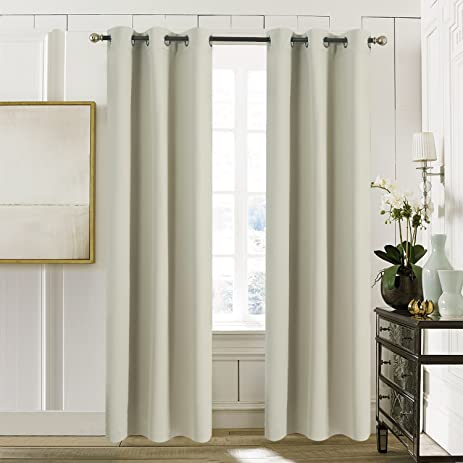 Solid Grommets Blackout Curtains   Aquazolax Blackout Thermal Curtain Drapes  42x84 Room Darkening Drapery For Living