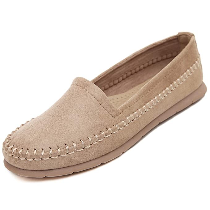 Morbuy Mujer Clásico Gamuza Mocasines, Zapatos Planos Loafers Zapatos del Barco Casual Zapatos de Conducción