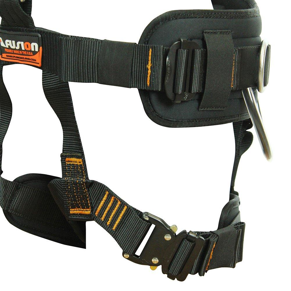 Fusion Climb Tac Rescue Pro Steel Tactical Full Body Heavy Duty Adjustable Zipline Harness 23kN L-XL Red Black