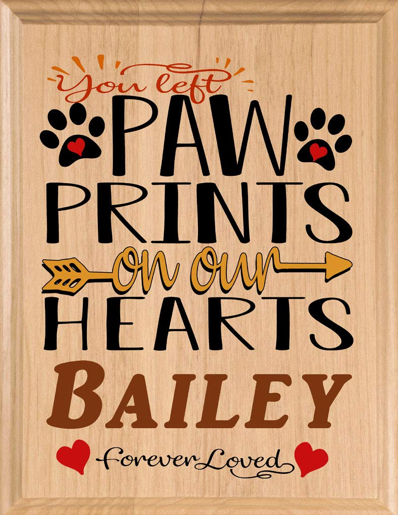 Broad Bay Dog Memorial Gift Plaque Personalized Pet Sign You Left Paw Prints On Our Hearts Solid Wood Made in USA by Broad Bay