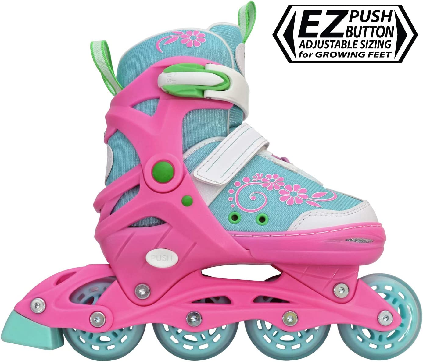 Lenexa Sherbet Kids Rollerblades – Patines Roller Blades for a Kid Girl Girls, Boy Boys – Adjustable Comfortable Inline Skates for Children Blue Pink