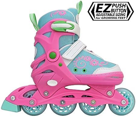 Lenexa Sherbet Kids Rollerblades – Patines Roller Blades for a Kid Girl Girls, Boy Boys – Adjustable Comfortable Inline Skates for Children Blue Pink