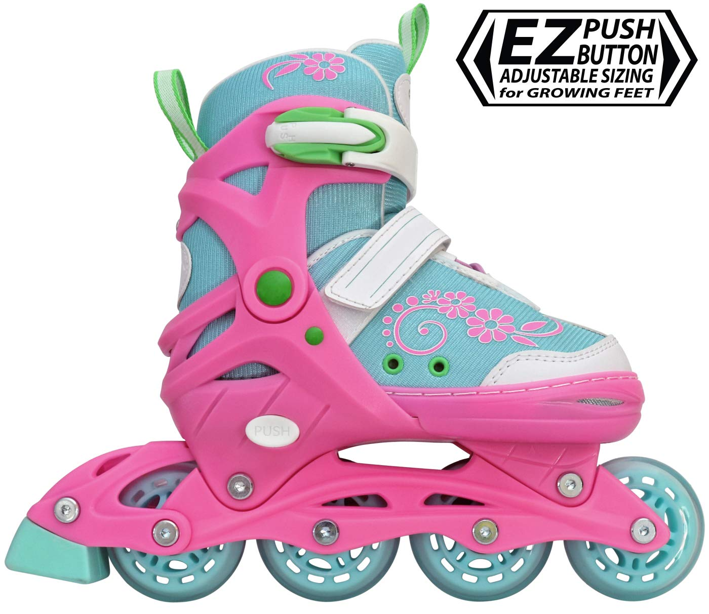Lenexa Inline Skates for Girls with Adjustable Sizing Sherbet Kids in-line Roller Skate Blades   Comfortable fit   Safety Non-Slip Wheels   Made for Fun (Blue/Pink) (Small (J11-1))