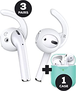 EarBuddyz 2.0 Ear Hooks and PodSkinz AirPods Case Compatible with AirPods 1 and 2
