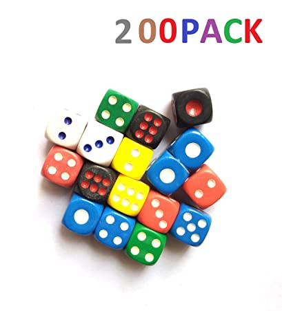 ISHARAA 200PCS Game Dice Creative Acrylic Dice 6-Sided Dice for Party Game