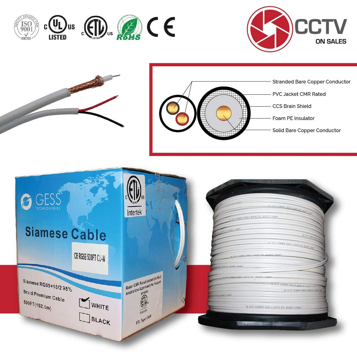 CCTVOnSales RG59 500FT Siamese Combo Coaxial Solid Bare Copper White, 20AWG Video Plus 18/2 Copper Power Cable, cm, CMX, CMR Rated ETL Listed (Siamese Cable Copper 500FT White)